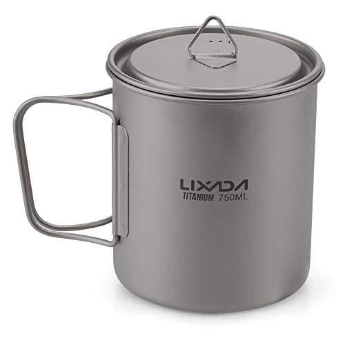 Lixada Titanium Cup Water Mug for Camping Picnic Portable Folding Handle, 300 ml/350 ml/550 ml/650 ml