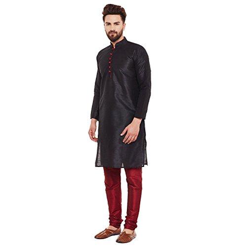 Dupion Silk Kurta Churidaar Set Black Kurta Pyjama indian Traditional Wear - Black Kurta