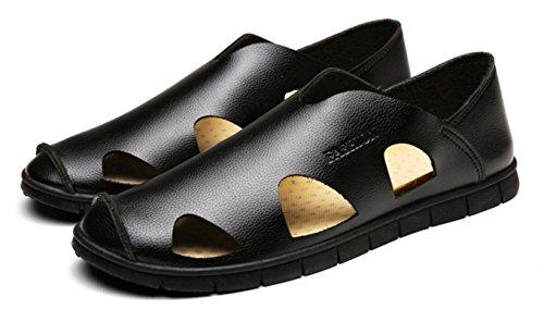 HYLM Summer Men Sandali Fashion Beach Scarpe Respirabile Tempo libero Un Pedale Lazy marea Scarpe Anti-Skid Foro Foro Scarpe Black
