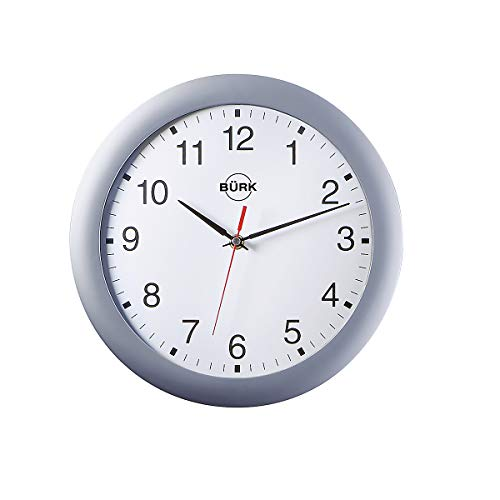 Horloge murale en plastique ABS, Ø 300 mm - horloge radio-pilotée - corps argent mat, cadran blanc - Horloge Horloge murale Horloge murale radio-pilotée Horloge radio-pilotée Horloges Horloges murales Horloges murales radio-pilotées Horloges radio-pilotées