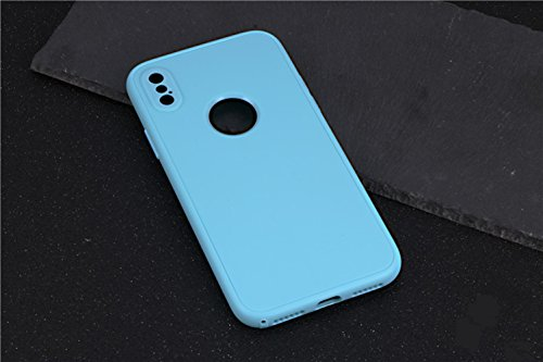 iPhone X Hülle, Chickwin 360 Grad TPU Silikon Schutzhülle Full Package Soft Shell Schutzhülle mit Anti-Rutsch Kratzfest Handyhülle (Hellblau) (Herren Cognac Justin)
