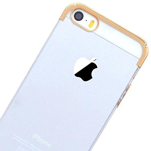 HB-Int Handyhülle für iPhone SE / 5S / 5 Ultra Dünn Durchsichtig Schutzhülle Klar Hart Hülle Gold Bling Plating Case Kristall Schale Passgenaues Rückseite Handytasche Gold