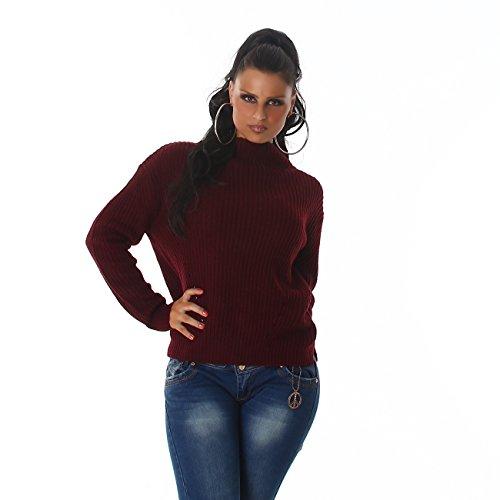 VOYELLES Eleganter Damen Strickpullover mit Stehkragen, Pulli in vielen Trend-Farben erhältlich 34-38 Weirot