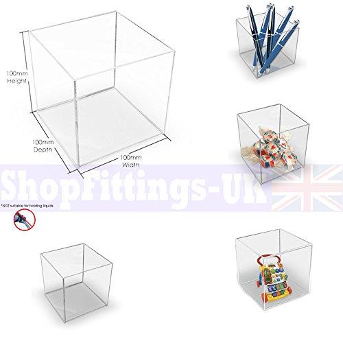 Cubo in materiale acrilico Display Stand scatola quadrata 5lati Perspex vassoio Custodia Shop Holder 100x100x100mm Acrylic Cube