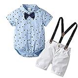 Babykleidung Jungen Sommer Set,Pwtchenty Kinder Kurzarm Baby Sommer Kurzarmband zweiteilig Baby Kleidung, Kids Baby Jungen Outfits Set Sterne Print T-Shirt Tops+ Strap Hosen + Bow Tie Set