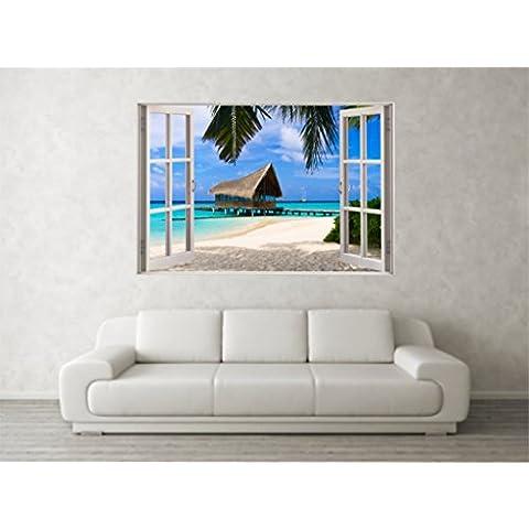 Scene in 3D a forma di cabina da spiaggia, motivo: adesivi da parete con finestra