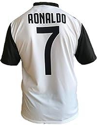 JUVE T-Shirt Maillot de Football Cristiano Ronaldo 7 CR7 Juventus Nouveau Saison 2018-2019 Replica Officiel avec Licence - Tous Les Tailles Enfants (2 4 6 8 10 12 Ans) et Adultes (S M L XL)