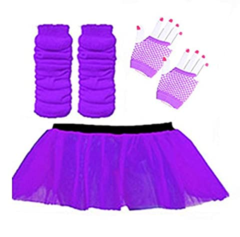 WICKD LADIES NEON TUTU SKIRT OUTFIT WITH LEGWARMERS AND FISHNET SHORT FISHNET GLOVES HEN PARTY - 2 SIZES 8-22 UK (Purple, 8-14 UK)