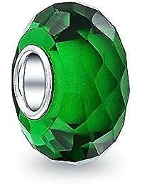 Bling Jewelry Grüner facettierter Kristall Glas simuliert Emerald Charm Perle Silber