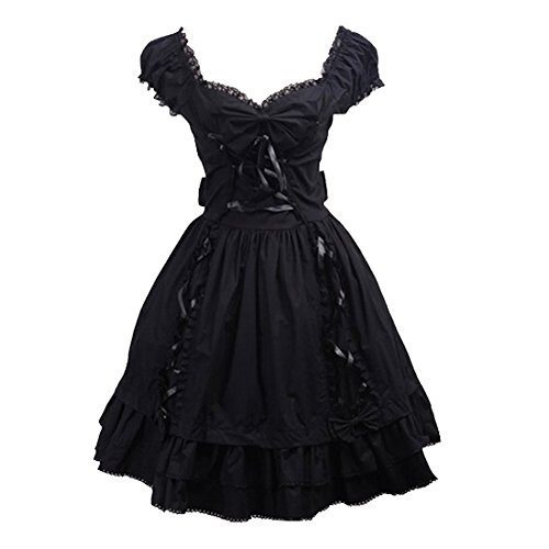 Partiss Damen Sweet Lace Vintage Victorian Classic Lolita Dress Suess Partykleid,XXL,Black (Victorian Lace Brautkleid)