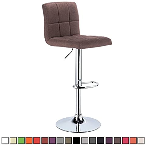 WOLTU BH32br-1-c 1x Linen Bar stools with Backrest and Footrest Breakfast Kitchen Chair Stools 360 Degree Swivel and Height Adjustable from 60 to 82cm, 1 pcs, Brown