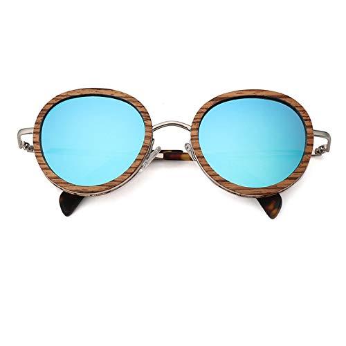 Zbertx Runde Holz Sonnenbrille Männer Frauen Design Mode Ultraleicht Oversize Sun Glas Polarisierte Linse Uv400,Eisblau
