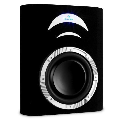 Auna CD250-4BX aktiver Subwoofer, Auto-Basslautsprecher, verstärkt (für KFZ-HiFi-Anlagen mit 500W, Subkonus 25cm, Bassreflex, LED-Beleuchtung, Antiresonanz-Gehäuse)-Schwarz