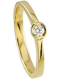 Diamond Line Damen - Ring 585er Gold 1 Diamant ca. 0,10 ct., gelbgold