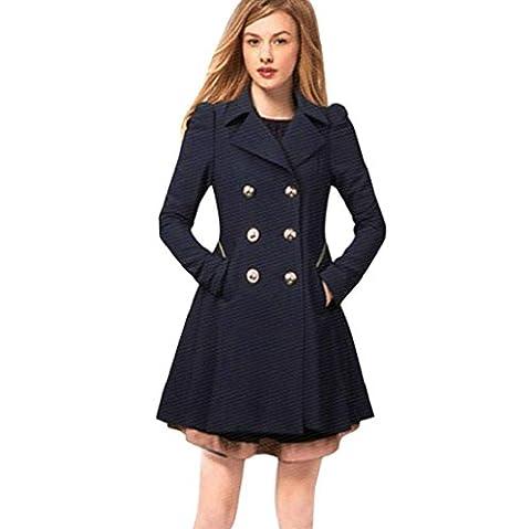 Vovotrade Mode Femme Long Parka Manteau d'hiver Manteaux Trench Jacket Lapel Neck Chauds (EU Size:40, Marine)