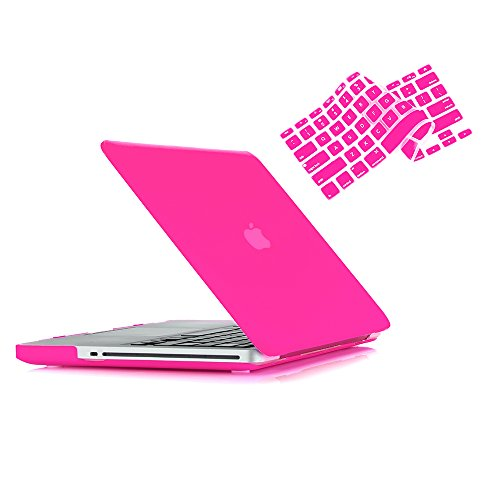 MacBook Pro 13 Hülle 2012 2011 2010 2009 Release A1278, Ruban Hard Case Shell Cover und Keyboard Skin Cover für Apple MacBook Pro 13 Zoll mit CD-ROM - Pink