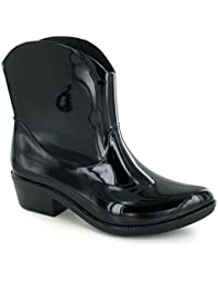 Spot On - Botas de agua estilo cowgirl con tacón para mujer