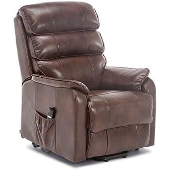 Astounding More4Homes Buckingham Elecrtic Rise Recliner Leather Air Riser Sofa Armchair Lounge Chair Brown Creativecarmelina Interior Chair Design Creativecarmelinacom