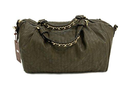 Womens Ladies Borse in pelle effetto lusso borse catena in metallo cinturino in pelle Khaki