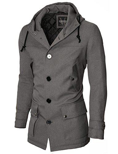 Baumwolle Männer Mäntel Winter Für (Parka Mantel Herren Winter Slim Fit von MODERNO (MOD13533C) Grau EU S)