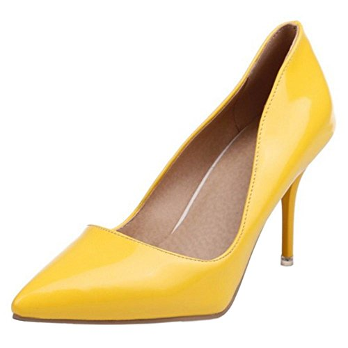 COOLCEPT Scarpe con Tacco Alto Donne Elegante Stiletto Chiuse (38 EU,Yellow)