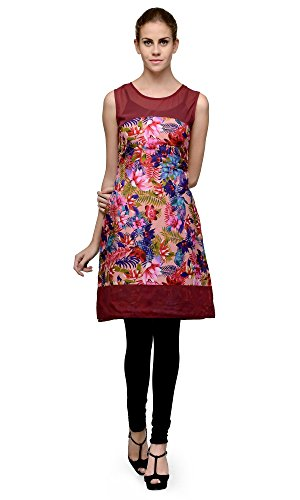 Wine Floral Sleeveless Kurti