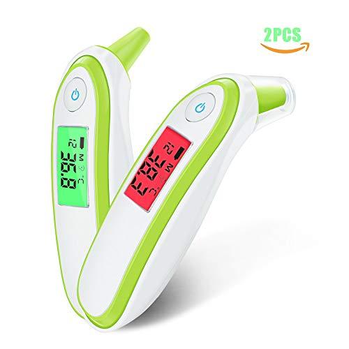 Baby Stirn- und Ohrthermometer 2 Stück, digitales professionelles Infrarot-Basalthermometer für Fieber, genaue Messwerte für Neugeborene, Säuglinge, Kleinkinder, Kinder und Erwachsene,Grün