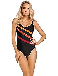 Delimira Damen Einteiler Badeanzug - Gestreift Schwimmanzug Schale Slim  Bademode 722728738e