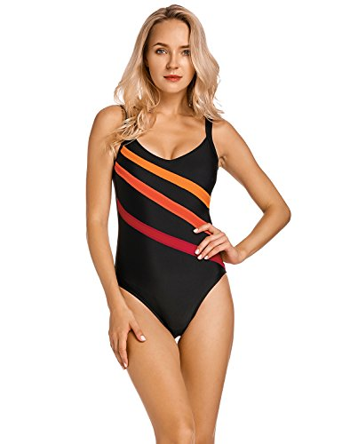 Delimira Women's Striped Slimming Plus Size One Piece Swimsuit Bathing Suits