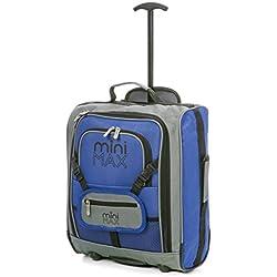 Minimax Equipaje infantil niños cabina de equipaje maleta trolley con la mochila y la bolsa para su favorito juguetes / muñecas / peluches (Azul)