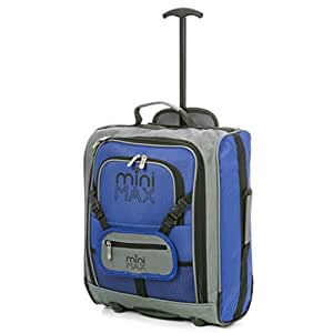 MiniMAX Childrens/Kids Cabin Luggage Carry On Trolley Suitcase with Backpack and Pouch for your Favourite Doll/Action Figure/Bear (Blue)