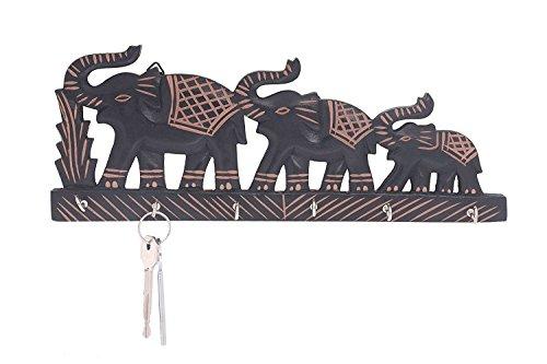 Design-dreifach-haken (Valentinstag Geschenke, handgefertigte Holz Schlüsselanhänger mit Messing und dekorativen Design Key Hanger, dreifach Elefanten geformt, 6 Schlüssel Haken Schlüssel Organizer für Home & Office)