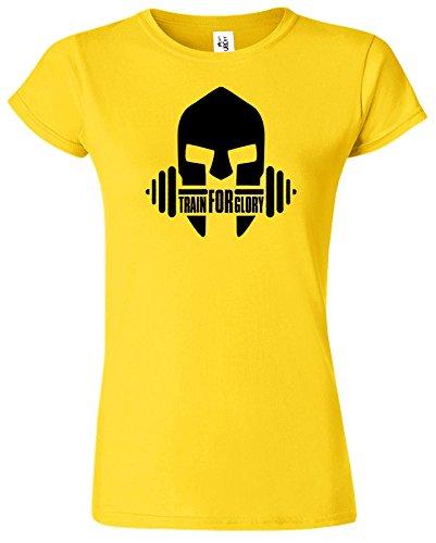 GYM Crossfit Workout Funktions Ausbildung Sport Damen T-Shirt Gänseblümchen / Schwarz Design
