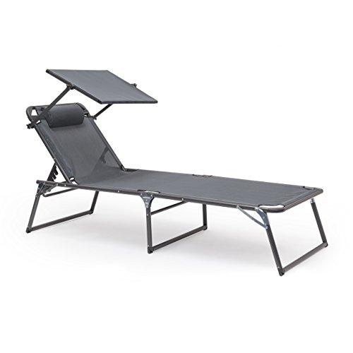 Relaxdays 10020099_139 sedia sdraio per giardino con protezione solare, antracite, 200x70x111 cm