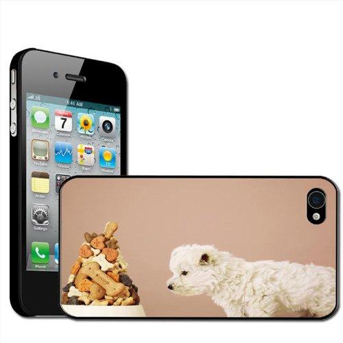 Fancy A Snuggle Hartschalen-Hülle für iPhone 4/4S, Design Puppy Dog Staring At Food Bowl