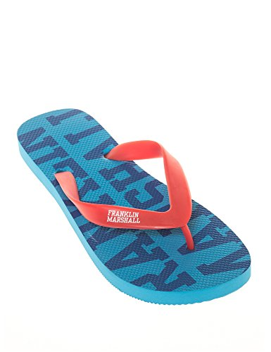 Franklin & Marshall Men's Unisex Blue-Black Flip Flops Red