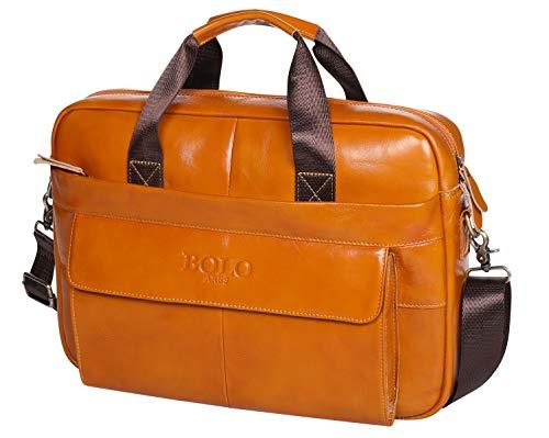 BOLO Aktentasche aus Leder 14 Zoll Laptoptasche,Echtleder Geschäft Umhängetasche für Herren und...