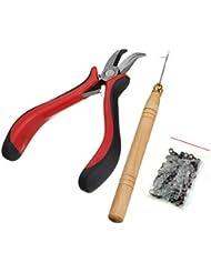 Kit professionnel d'extension pour cheveux avec pince, aiguille, crochet et 200micro-anneaux en silicone de 5mm, idéal pour les extensions et les plumes