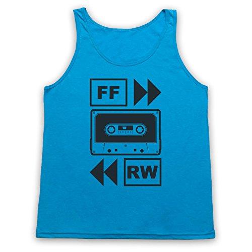My Icon Art & Clothing Fast Forward Tape Cassette Camiseta de Tirantes, Azul Neón, 2XL