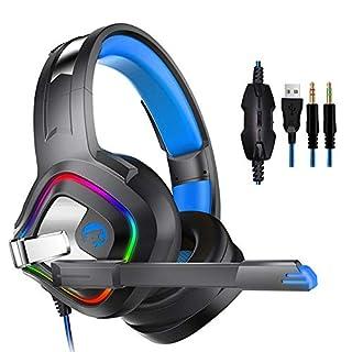 AIHOMÉ A66 Gaming-Headset, Surround-Stereo, Gaming-Kopfhörer mit Geräuschunterdrückung, Mikrofon, LED-Lichter und weicher Memory-Ohrenschützer für Xbox One PC Laptop Tablet Mac Smartphone