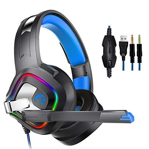 ZLR A66 Surround-Sound Gaming Kopfhörer Kopfhörer mit Geräuschunterdrückung Mikrofon LED Lichter und Soft Memory Ohrenschützer für Xbox One PS4 Nintendo Switch PC Mac Spiele Smartphone Unterstützung -