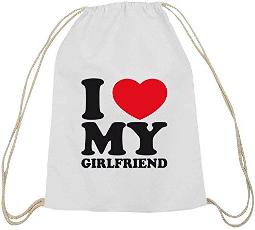 Shirtstreet24, I LOVE MY GIRLFRIEND, Valentinstag Baumwoll natur Turnbeutel Rucksack Sport Beutel weiß natur