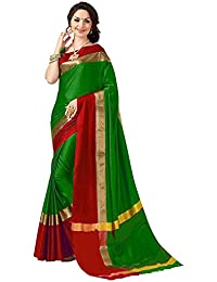Perfectblue Women's Cotton Silk Saree With Blouse Piece
