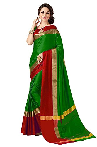 Perfectblue Women's cotton Silk Saree With Blouse Piece (Green)