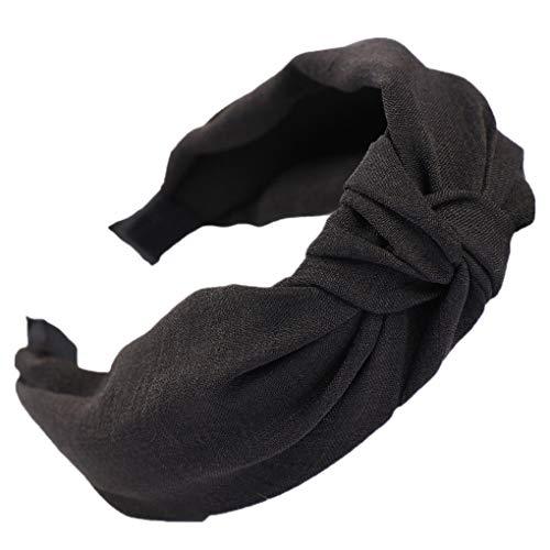 Dorical Haarband Yoga Headband Hairband Damen Stoff Haarreif mit Schleife-Vintage-Wunderschön Stirnband,Haarschmuck Haarreif mit Schleife-Vintage-Wunderschön Stirnband (One Size, Z006-Schwarz) -