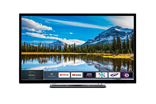 Toshiba 24W3863DB 24-Inch HD Ready Smart TV with Freeview Play - Black/Silver (2018 Model) (Renewed)
