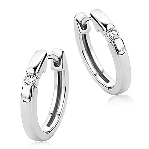 Diamada Femme or blanc en diamant créoles boucles d'oreilles 9kt (375) brillant 0.06cts