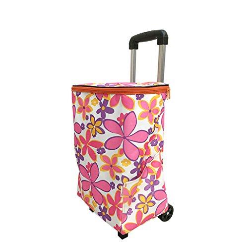 Leichte Aluminiumlegierung Faltbarer Einkaufswagen Lebensmittelgeschäft Warenkorb Koffer Gepäck 2 Rad Rosa Blumenmuster Faltbarer Stoß, ziehen Karren Oxford Tuch Große Kapazität Höhe: 48~93cm