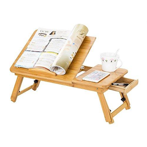 Table de Lit Pliable pour Ordinateur Réglable Support pour Ordinateur Portable avec Ventilateur Tiroir Bureau PC en Bambou Plateau de Petit-déjeuner au Lit Inclinable pour Tablette Notebook Camping