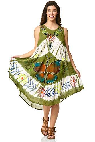MATKA Damen Sommerkleider Strandkleider Sommerkleid Knielang Tunika Trägerkleid - Sternlicht-Kaftan-Behälter-Kleid vertuschen täglichen Wesentliche Kaftan Deckel Strandkleid Grün -